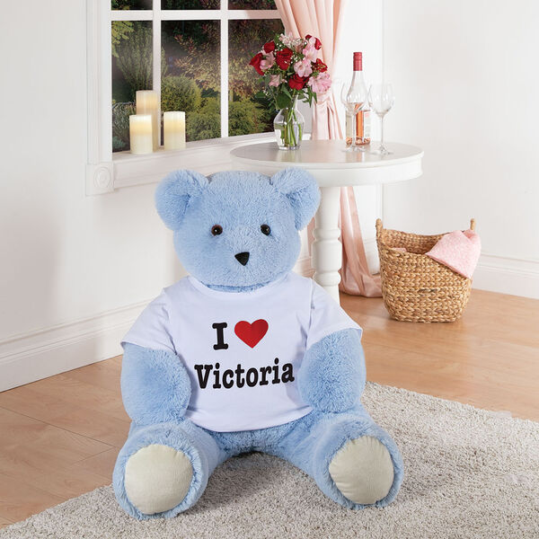 "4' ""I Heart You"" T-Shirt Blue Cuddle Bear image number 5"