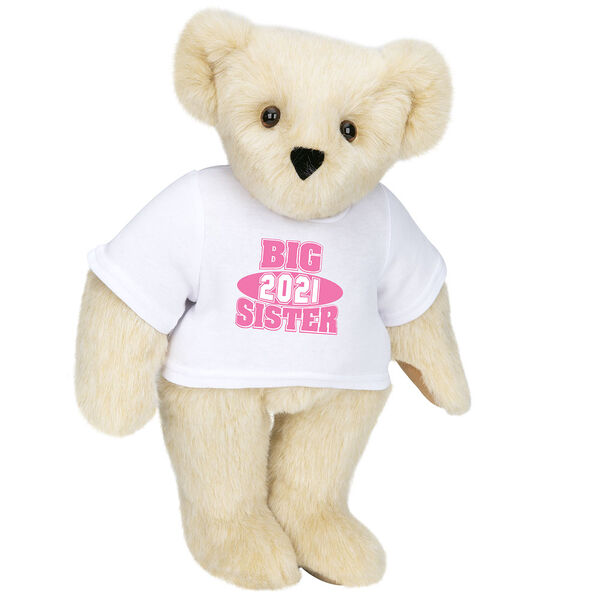 """15"""" 2021 Big Sister T-Shirt Bear - Standing jointed bear dressed in a white t-shirt with bright pink and white artwork that says, """"Big Sister 2021"""" on the front of the shirt - Buttercream image number 1"""