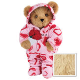 """15"""" Sweetheart Hoodie-Footie Bear with Red Roses - Front view of standing jointed bear dressed in pink hoodie footie with red heart pattern holding a bouquet of red roses, personalized with """"Anne"""" in black on left chest - Maple image number 6"""