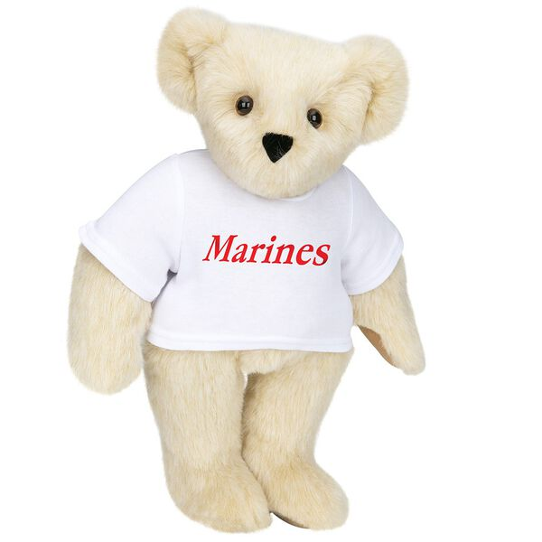 "15"" Marines T-Shirt Bear - Front view of standing jointed bear dressed in white t-shirt with red graphic that says, ""Marines"" - Buttercream brown fur image number 1"