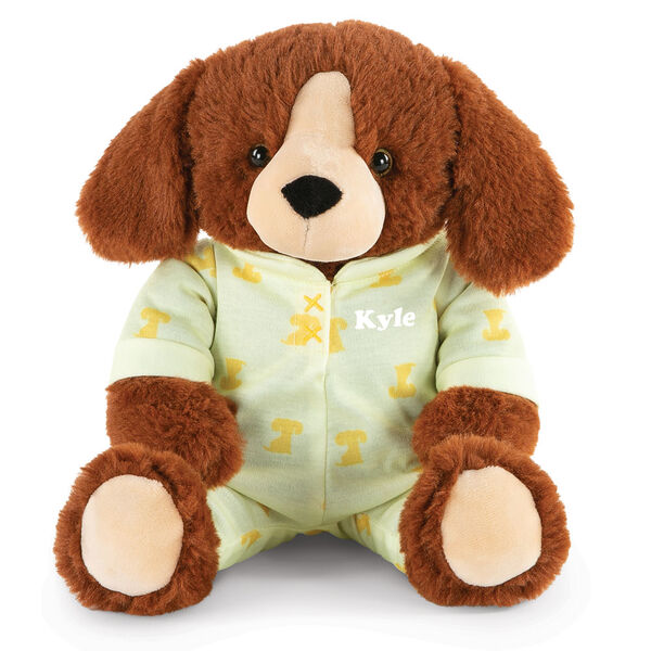 """13"""" PJ Pal Puppy - Front view of cinnamon brown Puppy in yellow cotton onesie pajamas with Puppy print personalized with """"Kyle"""" in white lettering image number 0"""