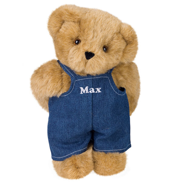 """11"""" Cub Boy Bear - Honey Brown Standing in Denim Overalls with Max personalized on the bib image number 0"""