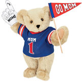 """15"""" Mom's Biggest Fan Bear - Front view of standing jointed bear dressed in a blue shirt with """"Mom 1"""" on front, holding a white foam finger that says """"#1 Mom"""" and a """"Go Mom"""" red flag - Buttercream brown fur image number 1"""