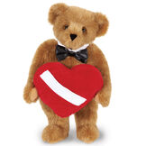 """15"""" Romantic at Heart Bear - Standing jointed bear with tuxedo collar and plush heart pillow - honey fur image number 2"""