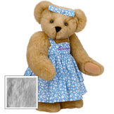 "15"" Mother Bear - Three quarter view of standing jointed bear dressed in blue floral dress and hair bow personalized with ""Susan"" in purple on bodice of dress - Gray fur image number 5"