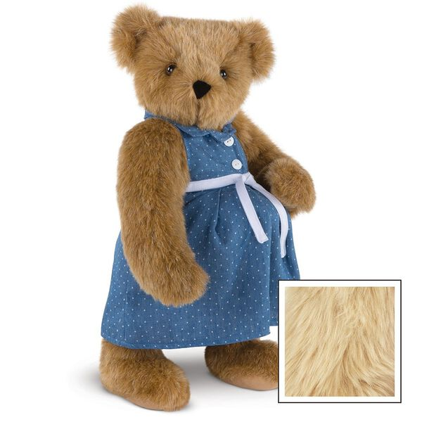 """15"""" Cub in the Oven - Three quarter view of standing pregnant jointed bear dressed in a blue dress with white dots and white belt.  - Maple brown fur image number 9"""