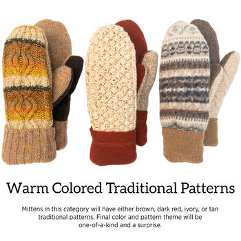 Bernie Mittens in Warm Colors and Traditional Patterns