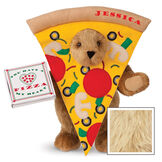 """15"""" Pizza My Heart Bear - Front view of standing jointed bear dressed in a pizza slive costume holding a pizza box that says """"You have a pizza my heart"""", personalized with """"Jessica"""" on the crust in red - Maple image number 6"""