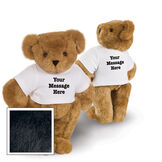 """15"""" Say Anything T-Shirt Bear - Front view of standing jointed bear dressed in white t-shirt with black graphic that says, """"Your message here"""" on the front and the back of the shirt - Black fur image number 3"""