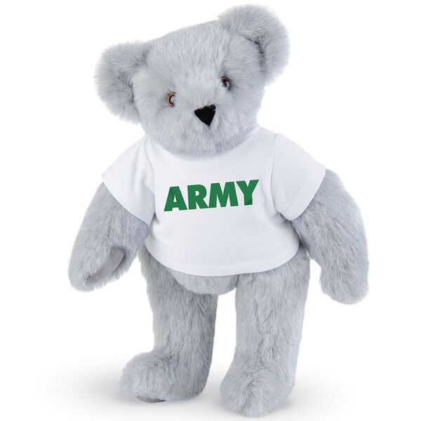"15"" Army T-Shirt Bear - Standing jointed bear dressed in a white t-shirt says, ""ARMY"" in green lettering on the front of the shirt - Gray fur image number 4"