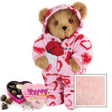 """15"""" Sweetheart Hoodie-Footie Bear with Red Roses and Chocolates - Standing jointed bear dressed in pink and red heart hoodie footie with rose bouquet and 6 pc. chocolates. Personalized with """"Anne"""" in black on left chest - Pink image number 5"""