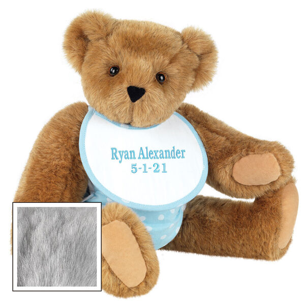"""15"""" Baby Boy Bear - Seated jointed bear dressed in light blue with white dots fabric diaper and bib. Bib with """"Ryan Alexander"""" and """"5-1-21"""" in light blue lettering - Gray fur image number 6"""