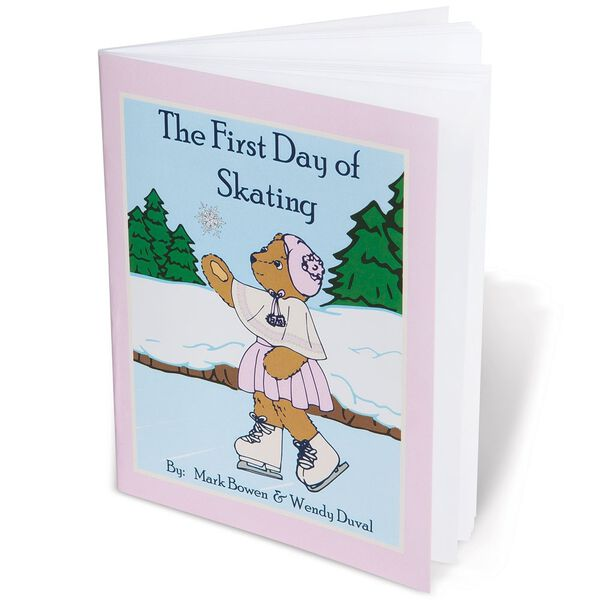 "15"" Bianca Bear - close up of ""The First Day fo Skating"" book written by Mark Bowen and Wendy Duval. Sketch of Bianca on front of book.  image number 5"