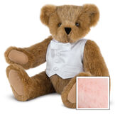 """15"""" Special Occasion Boy Bear - Three quarter view of seated jointed bear dressed in a white satin vest and shirt front with bowtie - Pink image number 5"""