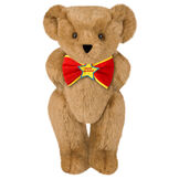 "15"" ""Happy Birthday"" Bow Tie Bear - Standing jointed bear dressed in red bow tie with yellow trim; ""Happy Birthday"" is embroidered on Star center - Honey brown fur image number 0"