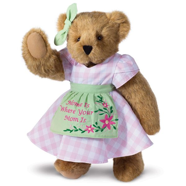 """15"""" Home Is Where Your Mom Is Bear - Front view of standing jointed bear wearing a pink gingham dress, green bow and apron with floral embroidery and says """"Home is Where Your Mom Is"""" - Honey brown fur image number 2"""
