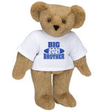 """15"""" 2021 Big Brother T-Shirt Bear - Standing jointed bear dressed in a white t-shirt with royal blue and white artwork that says, """"Big Brother 2021"""" on the front of the shirt - Honey image number 0"""