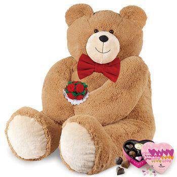 4' Big Hunka Love® Bear with Bow Tie, Roses and Chocolates