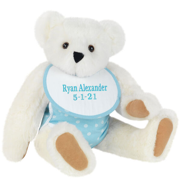 """15"""" Baby Boy Bear - Seated jointed bear dressed in light blue with white dots fabric diaper and bib. Bib with """"Ryan Alexander"""" and """"5-1-21"""" in light blue lettering - Vanilla white fur image number 4"""