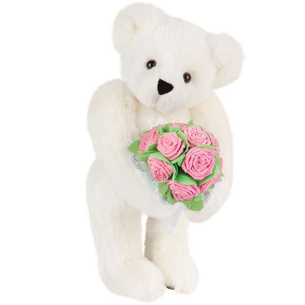 "15"" Pink Rose Bouquet Teddy Bear - Front view of standing jointed bear holding a large pink bouquet wrapped in white satin and lace - Vanilla white fur image number 2"