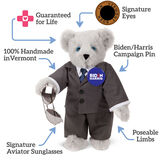 """15"""" Joe Biden Bear - Standing Gray Bear with Blue eyes, gray suit with text that says,""""Guaranteed for Life; Signature Eyes; Biden/Harris Campaign Pin; Poseable Limbs; Signature Aviator Sunglasses; 100% Handmade in Vermont."""" image number 1"""