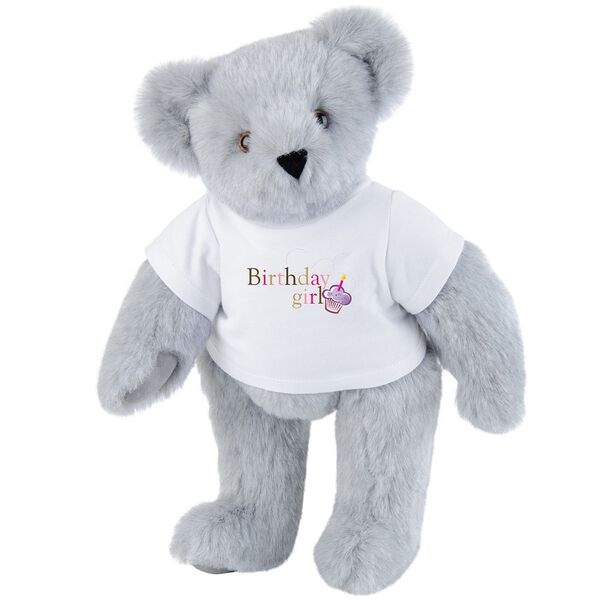 """15"""" Birthday Girl T-Shirt Bear - Standing jointed bear dressed in white t-shirt with colorful graphic that says, """"Birthday Girl' with purple cupcake and one candle - Gray fur image number 4"""