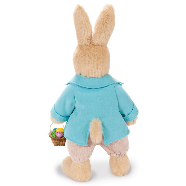 """16"""" Limited Edition Easter Bunny - Back view of Jointed Standing Buttercream Rabbit in a turquoise jacket, yellow vest with bow tie, tan knickers holding an Easter basket with eggs. image number 6"""