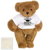 "15"" Graduation T-Shirt Bear - Standing jointed bear dressed in a white t-shirt with Class of 2021 on the front, personalized with ""Congratulations"" - Buttercream image number 2"
