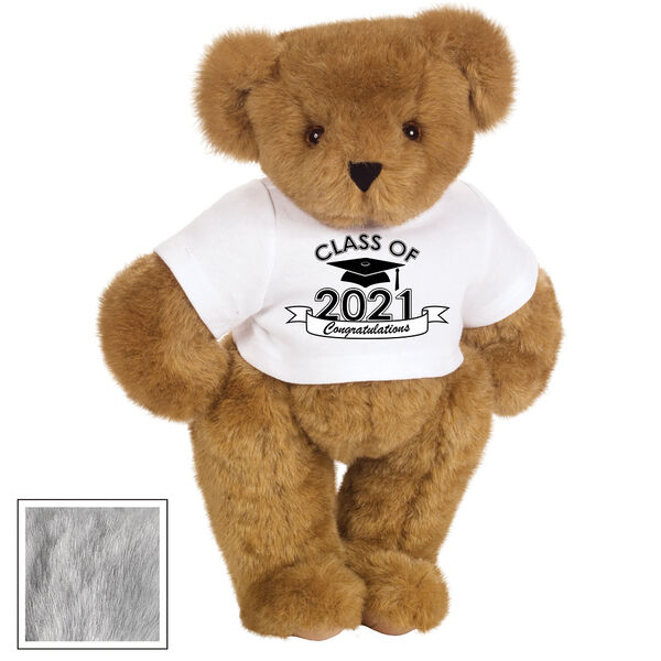 "15"" Graduation T-Shirt Bear - Standing jointed bear dressed in a white t-shirt with Class of 2021 on the front, personalized with ""Congratulations"" - Gray image number 4"