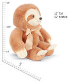 """13"""" Cuddle Cub Sloth with Bow - Side view of seated golden brown sloth with tan muzzle and velvet bow withe measurements of 13"""" Standing or 10"""" Seated image number 5"""
