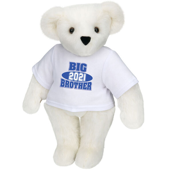 """15"""" 2021 Big Brother T-Shirt Bear - Standing jointed bear dressed in a white t-shirt with royal blue and white artwork that says, """"Big Brother 2021"""" on the front of the shirt - Vanilla image number 2"""