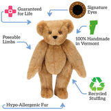 "15"" Get Well Bear - Standing jointed Bear naked honey bear, text around bear reads, ""Signature Eyes; 100% Handmade in Vermont; Recycled Stuffing; Hypo-Allergenic Fur; Poseable Limbs; Guaranteed For Life"".  image number 8"