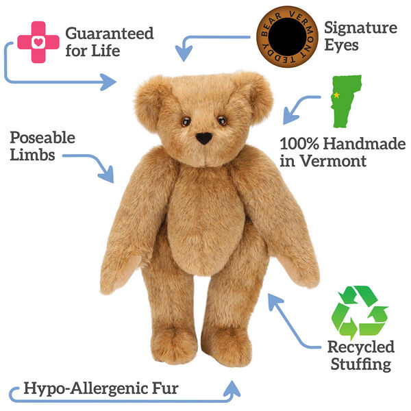 "15"" New Big Sister T-Shirt Bear - Standing jointed Bear naked honey bear, text around bear reads, ""Signature Eyes; 100% Handmade in Vermont; Recycled Stuffing; Hypo-Allergenic Fur; Poseable Limbs; Guaranteed For Life"".  image number 7"