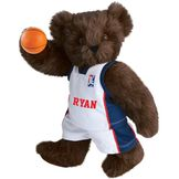 "15"" Basketball Bear - Standing jointed bear dressed in white jersey and shorts with blue and red trim. Bear comes with orange basketball. Center front of shirt is personalized with ""Ryan"" in red lettering - Espresso brown fur image number 5"