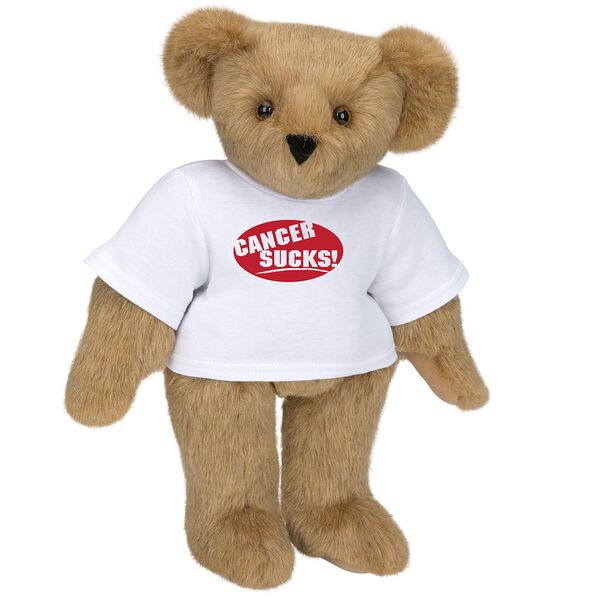 """15"""" Cancer Sucks T-Shirt Bear - Standing jointed bear dressed in white t-shirt with red graphic that says, """"Cancer Sucks!"""" - Honey brown fur image number 0"""