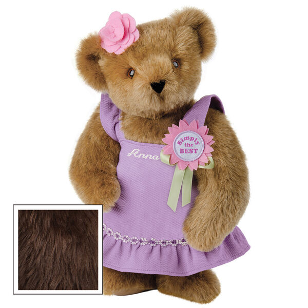 """15"""" Simply the Best Bear - Front view of standing jointed bear dressed in a lilac sundress with felt flower pin that says """"Simply the Best"""" in pink and pink flower on ear. Dress is personalized with """"Anna"""" in cream on front - Espresso brown fur image number 6"""