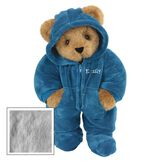 "15"" Hoodie-Footie Bear Blue - Front view of standing jointed bear dressed in blue hoodie footie personalized with ""Emily"" in white on left chest - Gray fur image number 4"