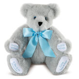 """15"""" Premium Baby Boy Bear - Front view of seated jointed gray bear with white paw pads and chose of eye color wearing a blue satin bow. All 4 paw pads are personalized with baby's name, birth date, pounds and inches at birth.  image number 1"""