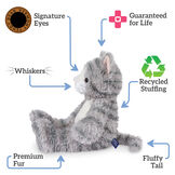 "18"" Oh So Soft Kitten - Front view of seated 18"" gray striped kitten with white muzzle, belly and foot pads text reads ""Signature Eyes; Guaranteed For Life; Recycled Stuffing; Fluffy Tail; Premium Fur; Whiskers"".  image number 1"