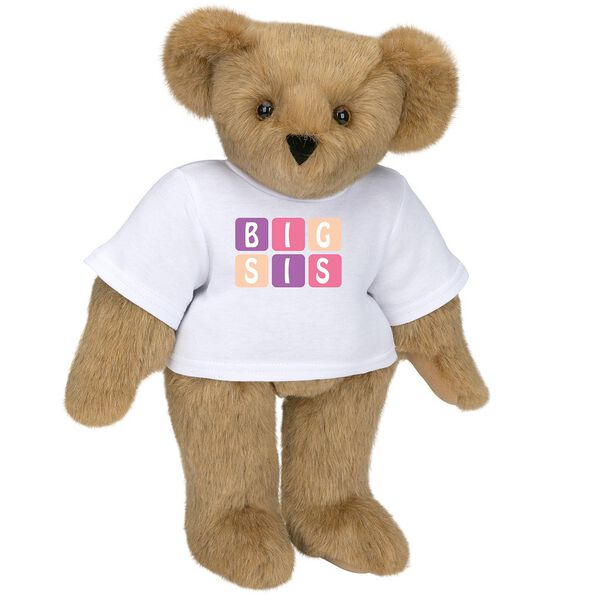 "15"" BIG SIS T-Shirt Bear - Standing jointed bear dressed in white t-shirt with pink and purple graphic that says, ""BIG SIS' - Honey brown fur image number 0"