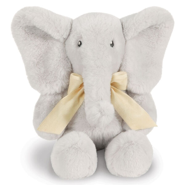 "13"" Cuddle Cub Elephant Bear with Bow - Front view of gray elephant with cream velvet bow image number 4"
