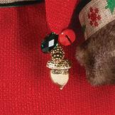 "15"" Limited Edition Woodland Santa Bear - Close up of gold bell detail on back of hood image number 4"