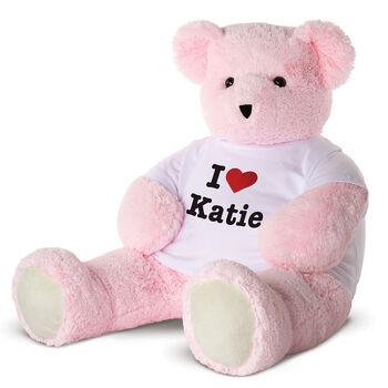 "4' ""I HEART You"" T-Shirt Pink Cuddle Bear"