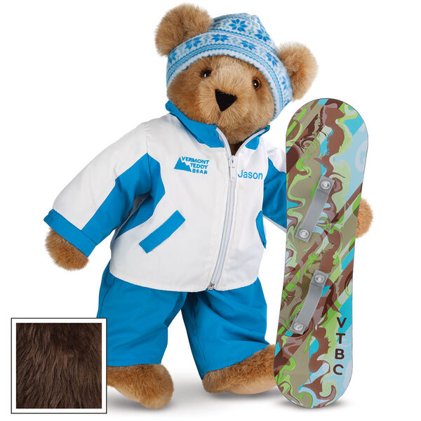 """15"""" Snowboarder Bear - Front view of standing jointed bear dressed in a blue and white snow jacket, blue pants, and holding a snowboard with graphics. Jacket is personalized with """"Jason"""" on the left chest - Espresso image number 7"""