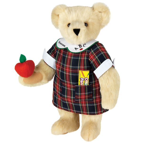 """15"""" Teacher Bear - Standing jointed bear dressed in a navy plaid dress with white teacher collar, colored pencils in the pocket and holding a fabric apple. Collar embroidered with """"ABC""""and personalized with """"Susan"""" in black - Buttercream brown fur image number 1"""