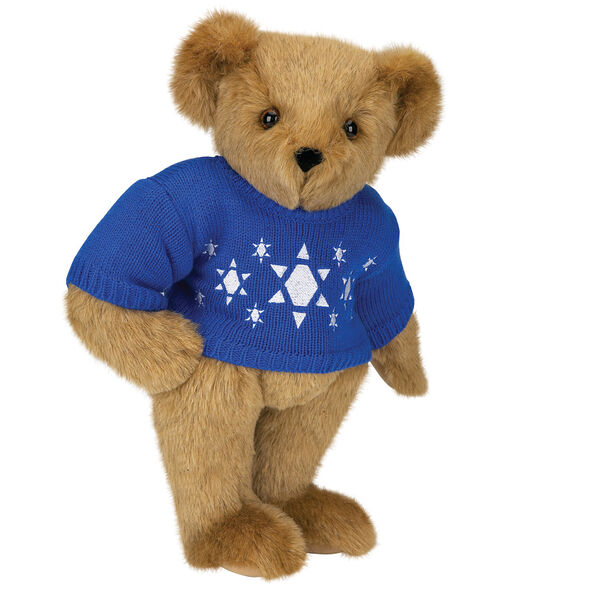 "15"" Chanukah Sweater Bear - Standing jointed bear dressed in blue knit sweater with white Star of Davids embroidered on the front - Honey brown fur image number 0"