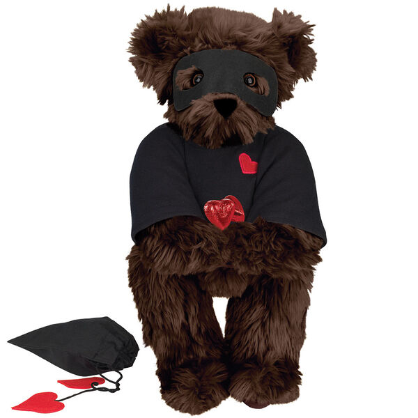 """15"""" Love Bandit Bear - Front view of standing jointed bear dressed in black turtleneck with red heart on left chest, black mask and holding a black bag with 2 chocolates - Espresso brown fur image number 7"""