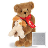 """15"""" Puppy Love Bear - 15"""" Standing Bear wearing a red satin bow and comes with plush puppy. Bow is personalized with """"Sarah"""" on the left tail - Gray image number 7"""
