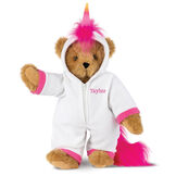 "15"" Unicorn Hoodie Bear - Front view of standing jointed bear dressed in a white fleece hoodie footie with rainbow horn, a hot pink cuffs and fur mane and tail personalized with ""Taylor"" in hot pink on left chest - Honey brown fur image number 0"