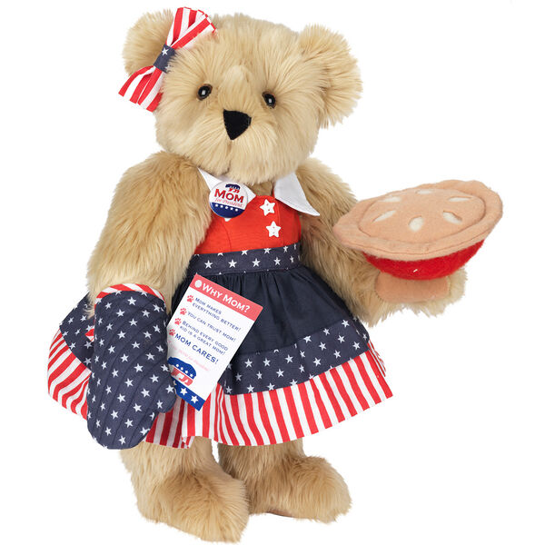 """15"""" Mom for President - Front view of standing jointed bear in a red, white and blue stars and stripes dress with matching head bow, with a """"Mom for President"""" pin holding an apple pie and a voting ballot - Maple brown fur image number 6"""